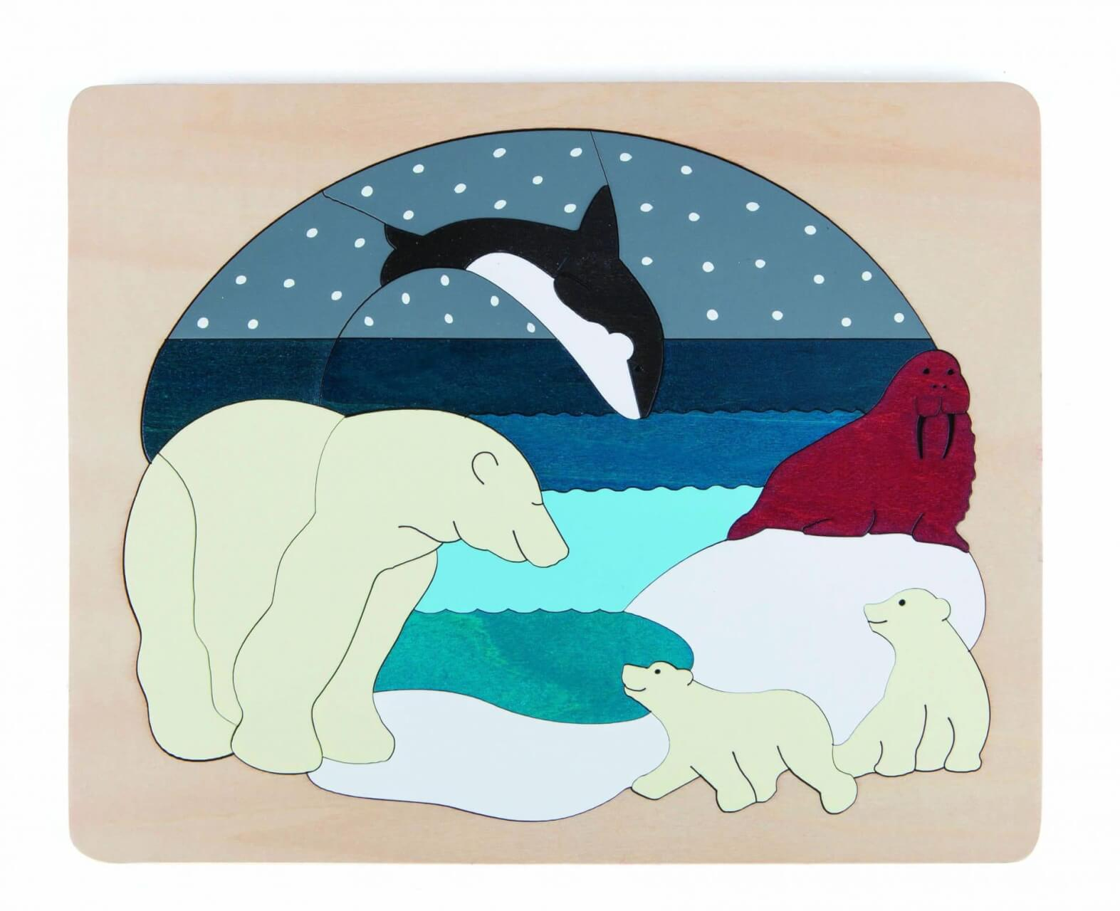 artic animal wooden puzzle