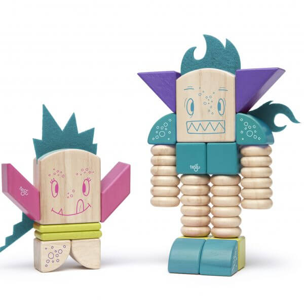 magnetic wooden blocks create Tegu Sticky Monster twins