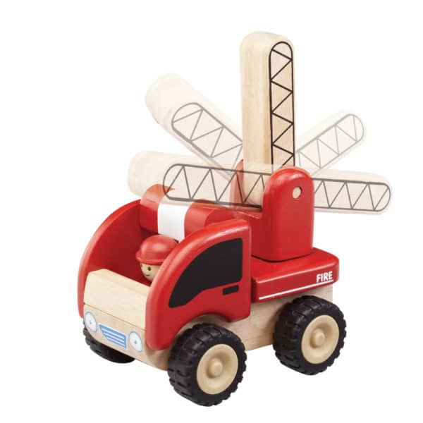 5-inch wooden fire truck with ladder