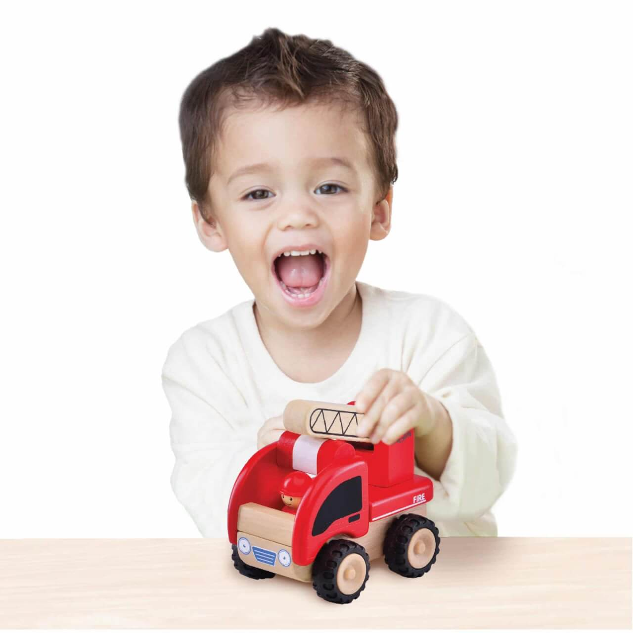 5-inch wooden fire truck for imaginative play