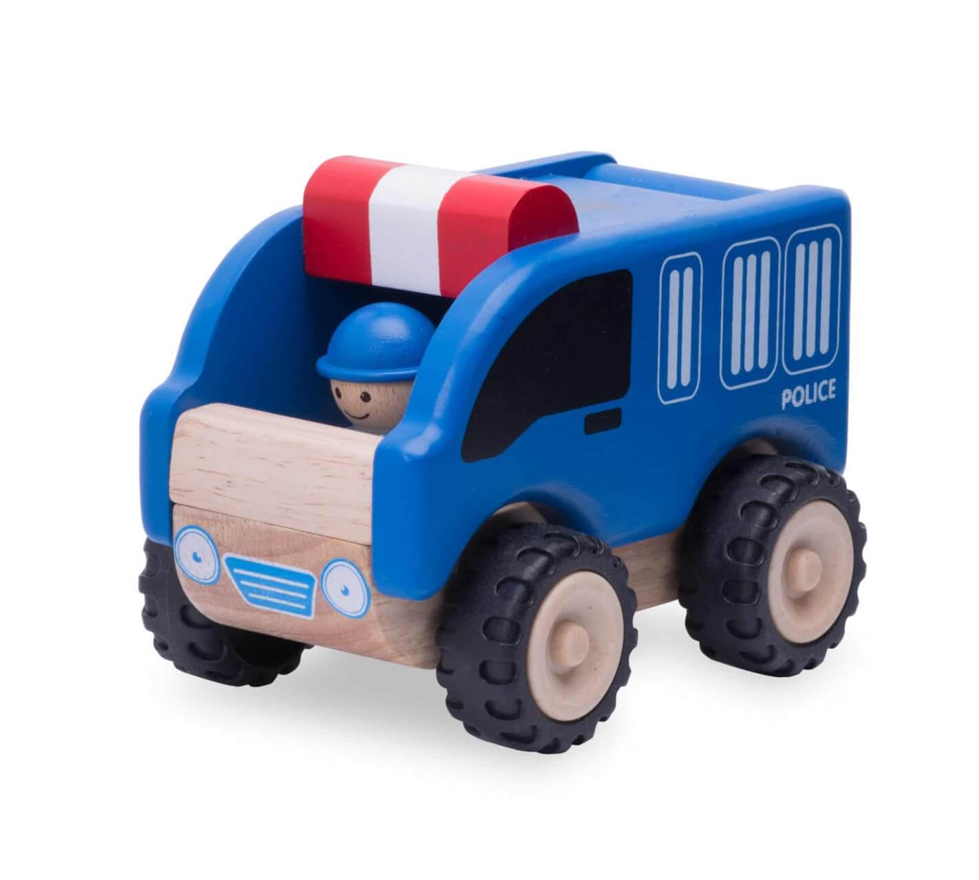 f5-inch wooden police car for imaginative play