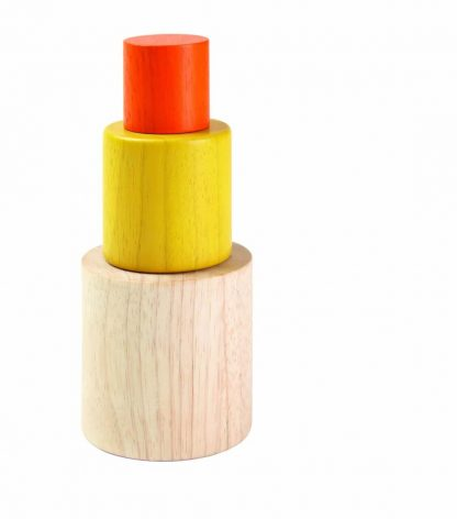 Trio of wooden nesting and stacking cylinders