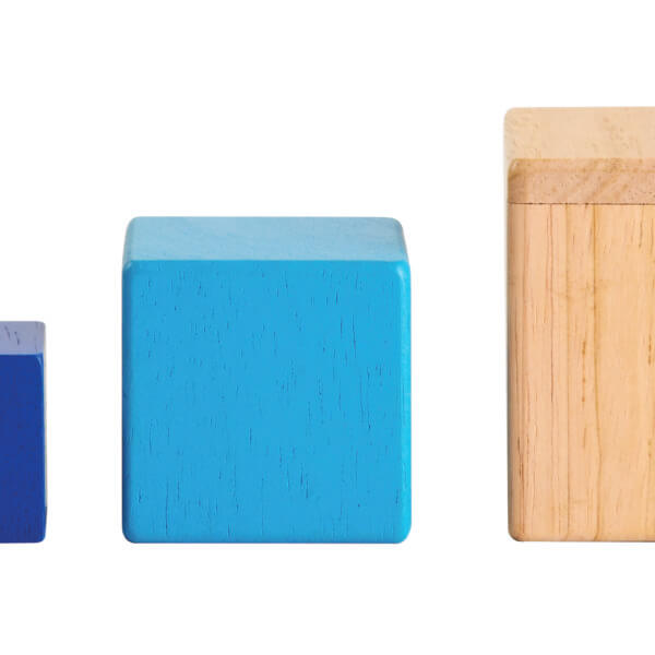 Trio of wooden nesting and stacking boxes