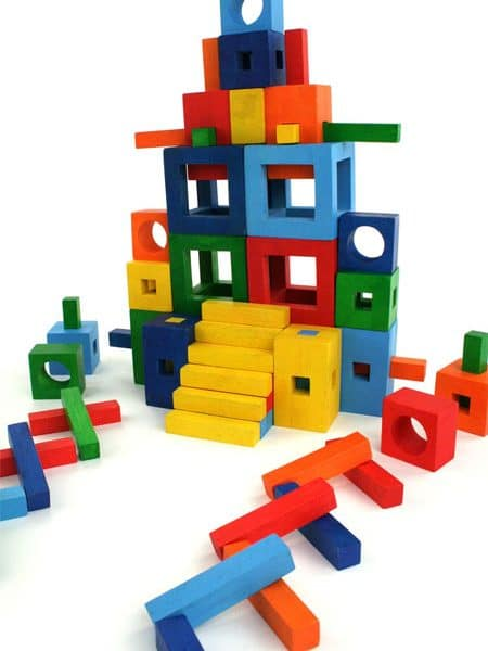 Precision cut wooden building blocks and rods