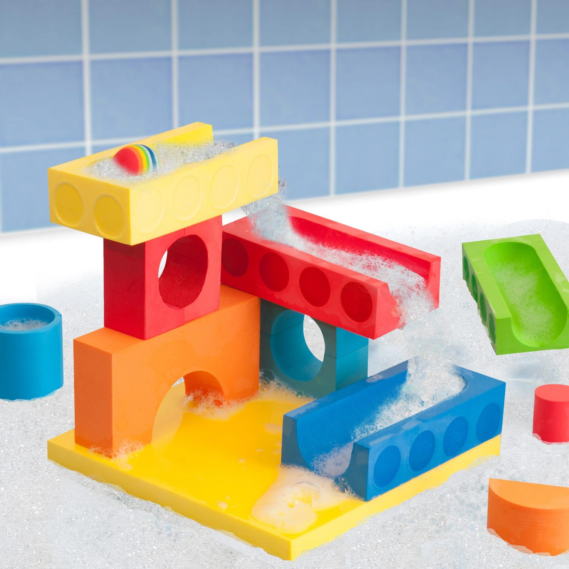 Foam blocks that stick together when wet