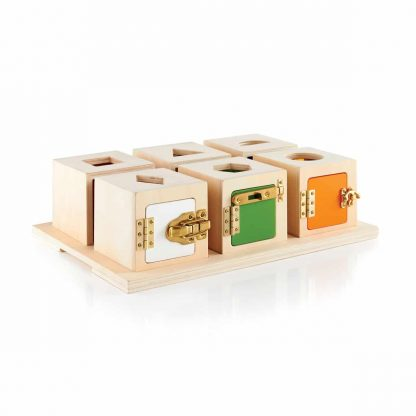 Six small lock box shape sorters