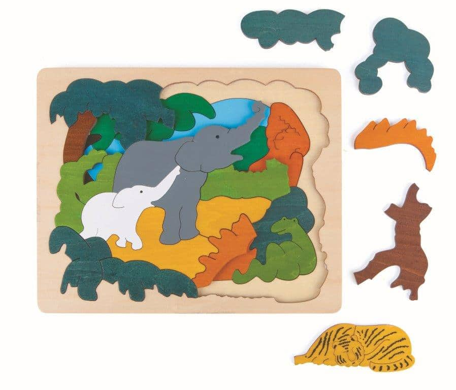 Asian animals 2-layer wooden puzzle