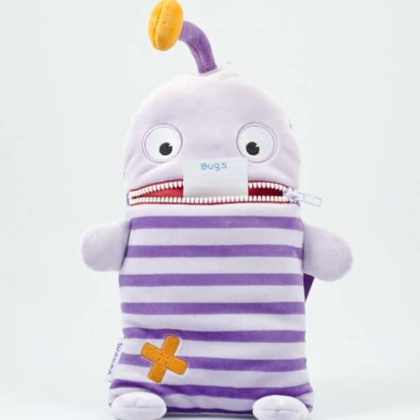 plush with zipper mouth for holding worries