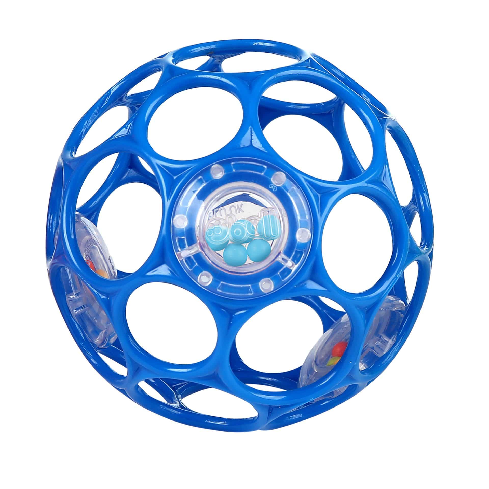 "blue 4"" rattle ball with o-shaped holes"