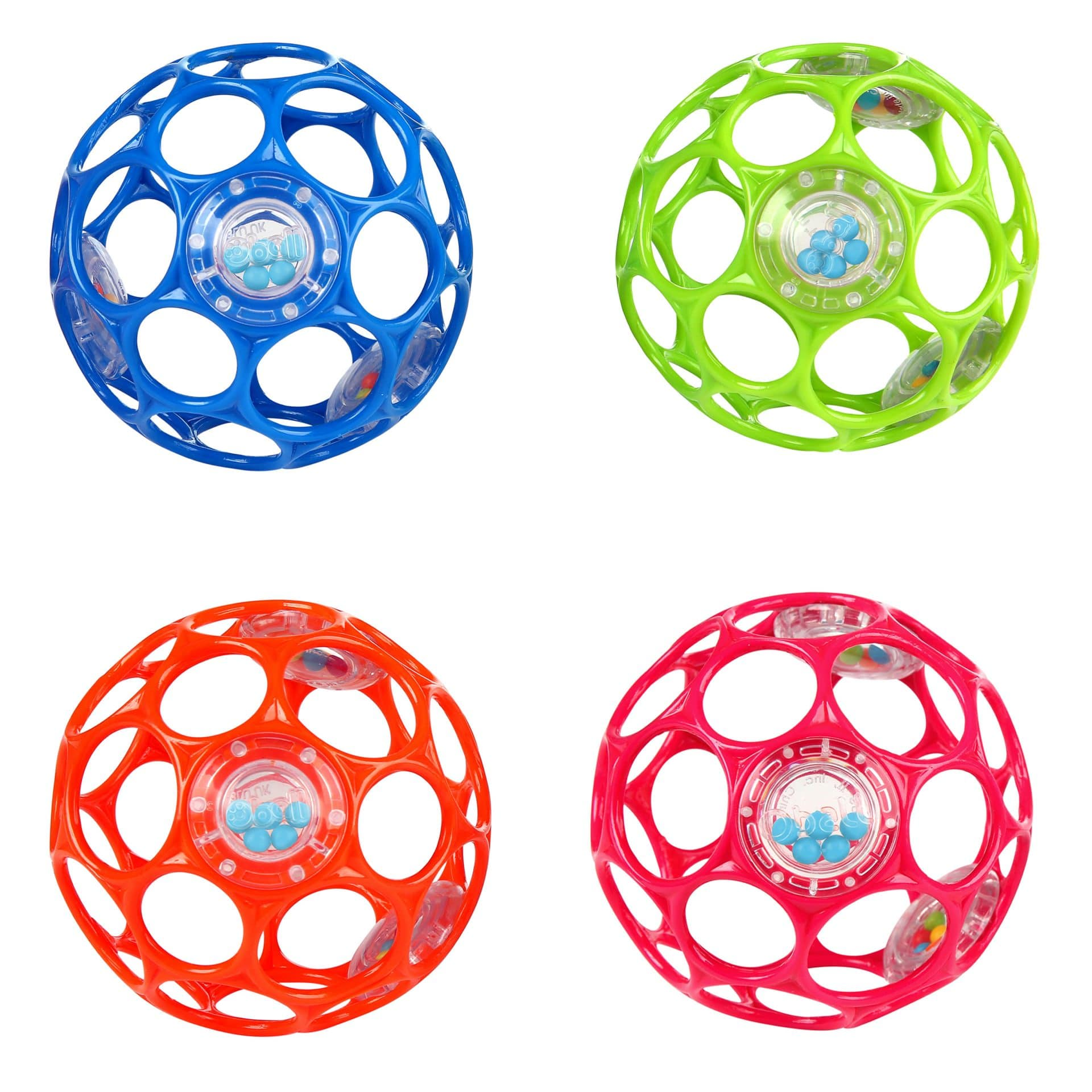 "4"" diameter rattle balls with o-shaped holes"