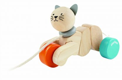 wooden cat-shaped pull-along toy