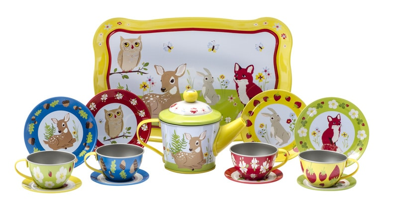 forest friends-themed tin tea set