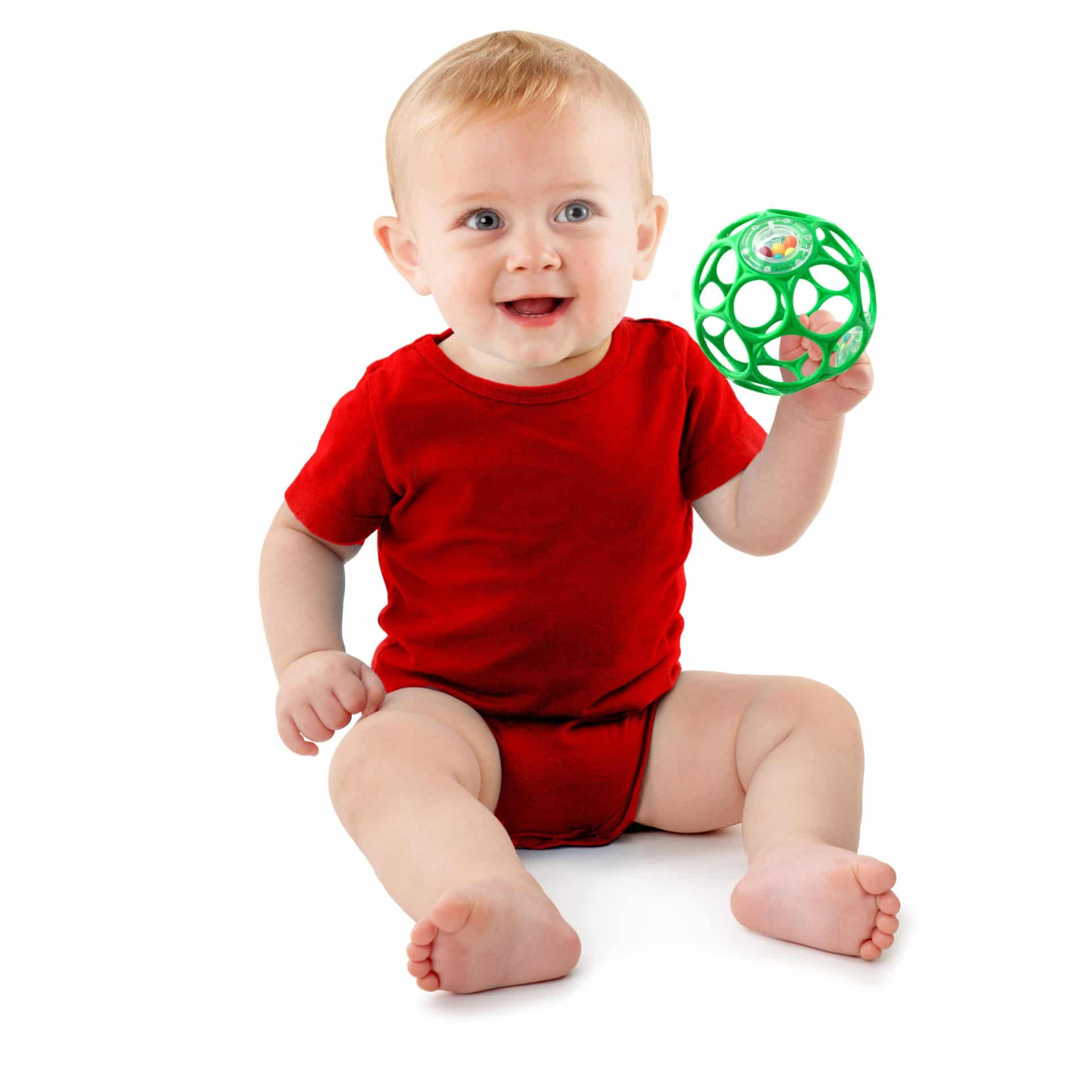 baby with oball rattle
