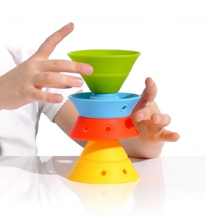 four silicone cones fold, nest, stack