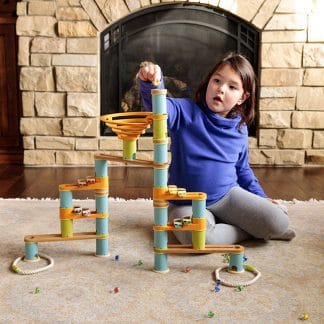 girl with bamboo builder musical marble run