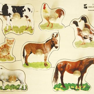 wooden knob puzzle farm animals