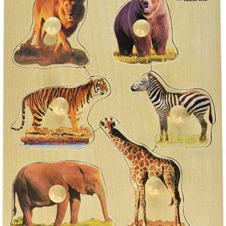 wooden knob puzzle wild animals