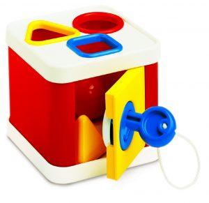 shape sorter toy with lock and key